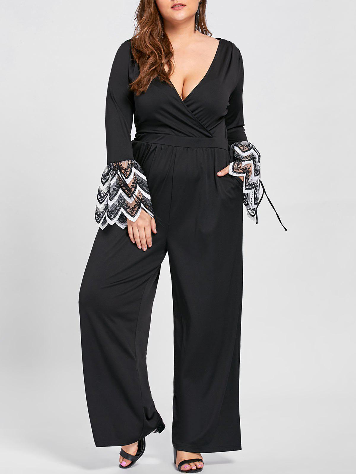 Hot Plus Size Lace Cuff Plunging Jumpsuit