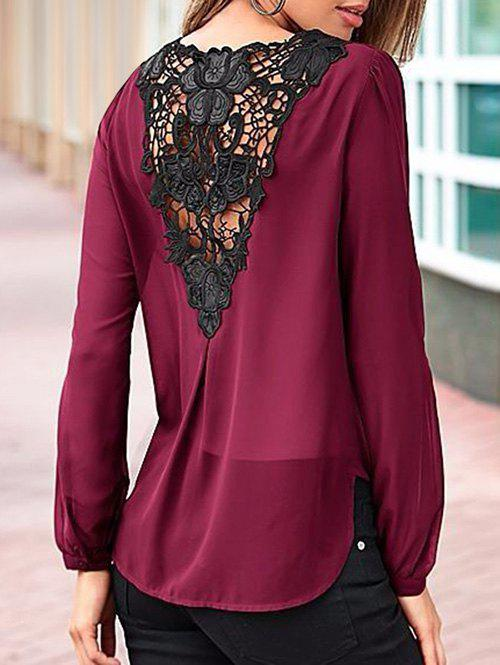Surplice Crochet Back BlouseWOMEN<br><br>Size: S; Color: WINE RED; Style: Casual; Material: Polyester; Fabric Type: Chiffon; Shirt Length: Regular; Sleeve Length: Full; Collar: V-Neck; Pattern Type: Others; Season: Fall,Spring; Weight: 0.2600kg; Package Contents: 1 x Blouse;