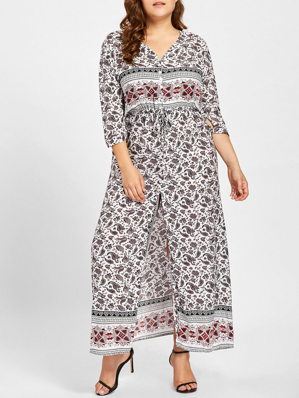 Outfit Plus Size Front Slit Geometric Print Dress