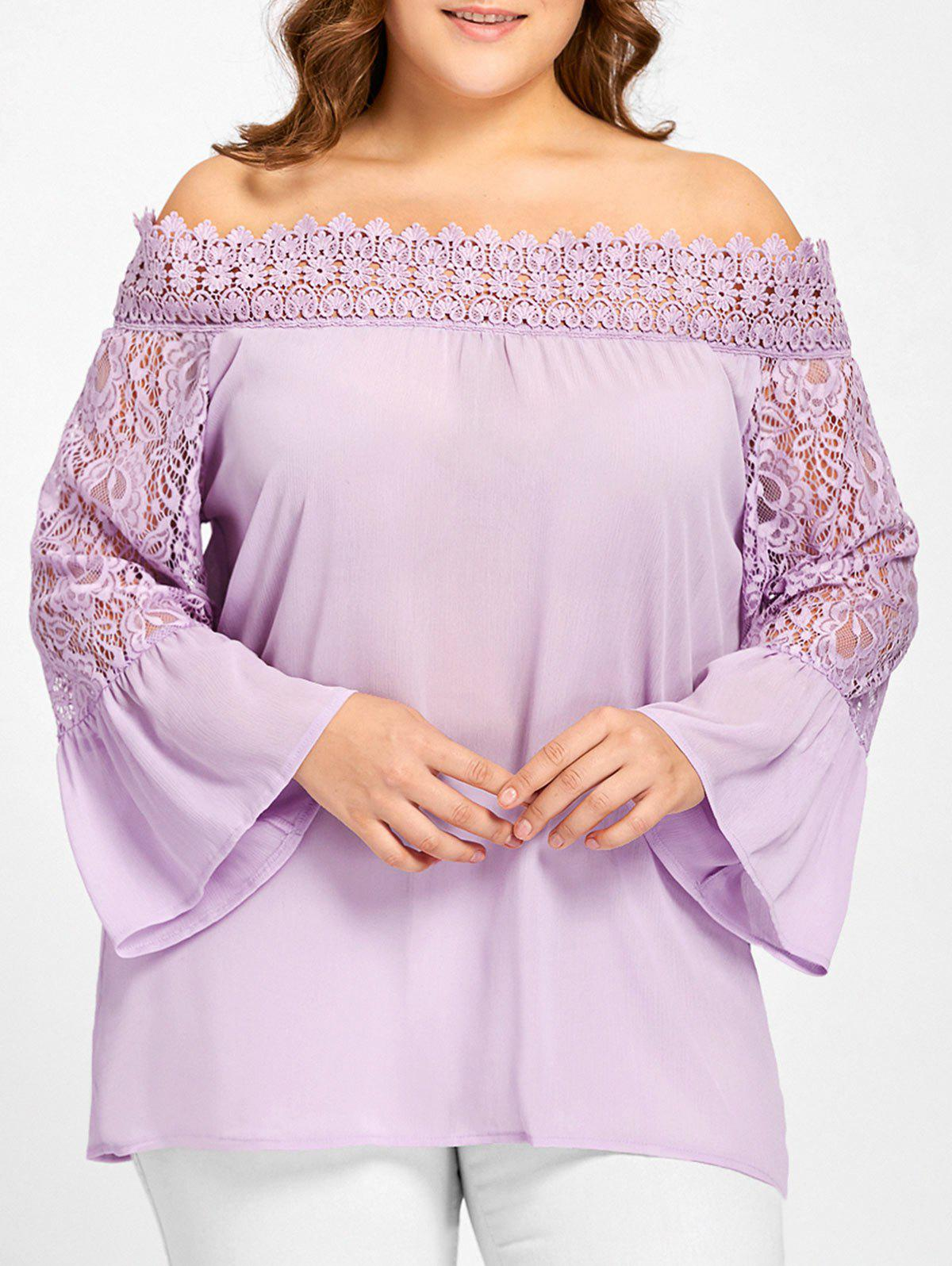 Plus Size Lace Panel Off The Shoulder BlouseWOMEN<br><br>Size: XL; Color: LIGHT PURPLE; Material: Polyester; Shirt Length: Regular; Sleeve Length: Full; Collar: Off The Shoulder; Style: Fashion; Season: Fall; Embellishment: Lace; Pattern Type: Solid; Weight: 0.2000kg; Package Contents: 1 x Blouse;