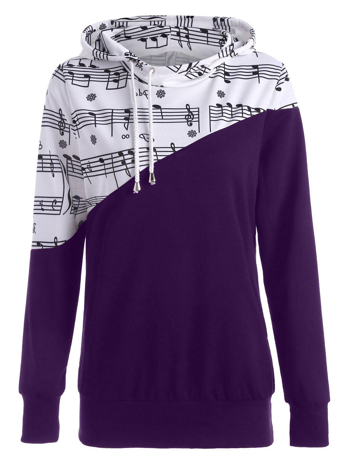 Two Tone Music Note HoodieWOMEN<br><br>Size: XL; Color: PURPLE; Material: Polyester,Spandex; Shirt Length: Regular; Sleeve Length: Full; Style: Fashion; Pattern Style: Print; Season: Fall,Spring; Weight: 0.3900kg; Package Contents: 1 x Hoodie;