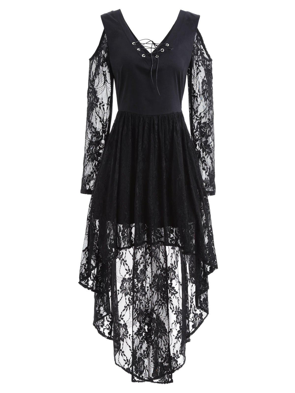 ed9950a6bb62a3 2019 Open Shoulder Lace Long Sleeve High Low Dress