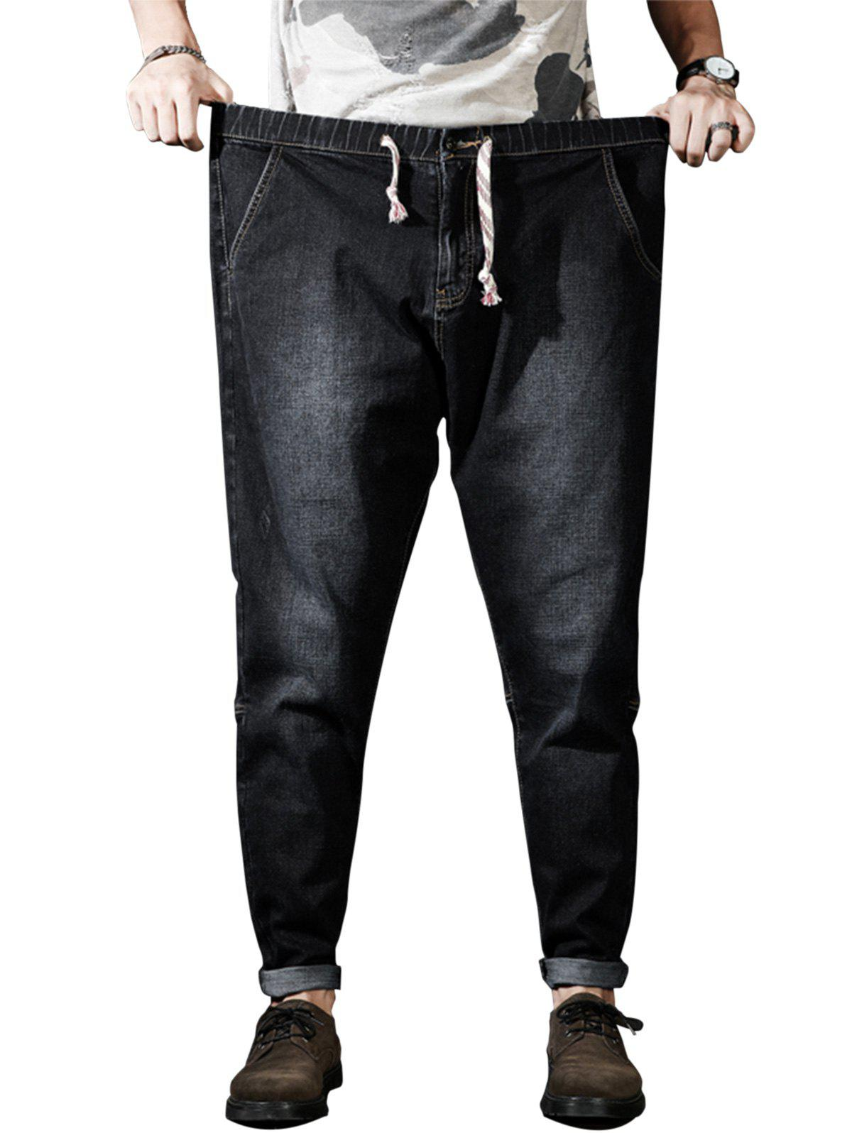 Outfits Plus Size Zipper Fly Drawstring Harem Jeans