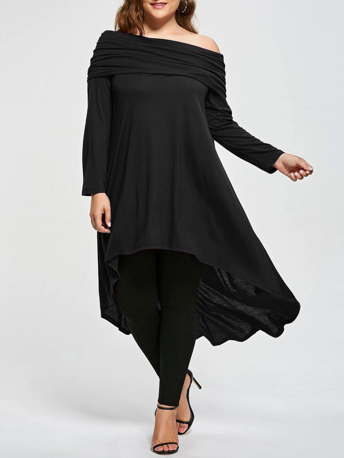Plus Size Skew Neck Asymmetric Longline TopWOMEN<br><br>Size: 4XL; Color: BLACK; Material: Cotton,Polyester; Shirt Length: Long; Sleeve Length: Full; Collar: Skew Collar; Style: Casual; Season: Fall,Spring; Pattern Type: Solid; Weight: 0.5000kg; Package Contents: 1 x T-shirt;