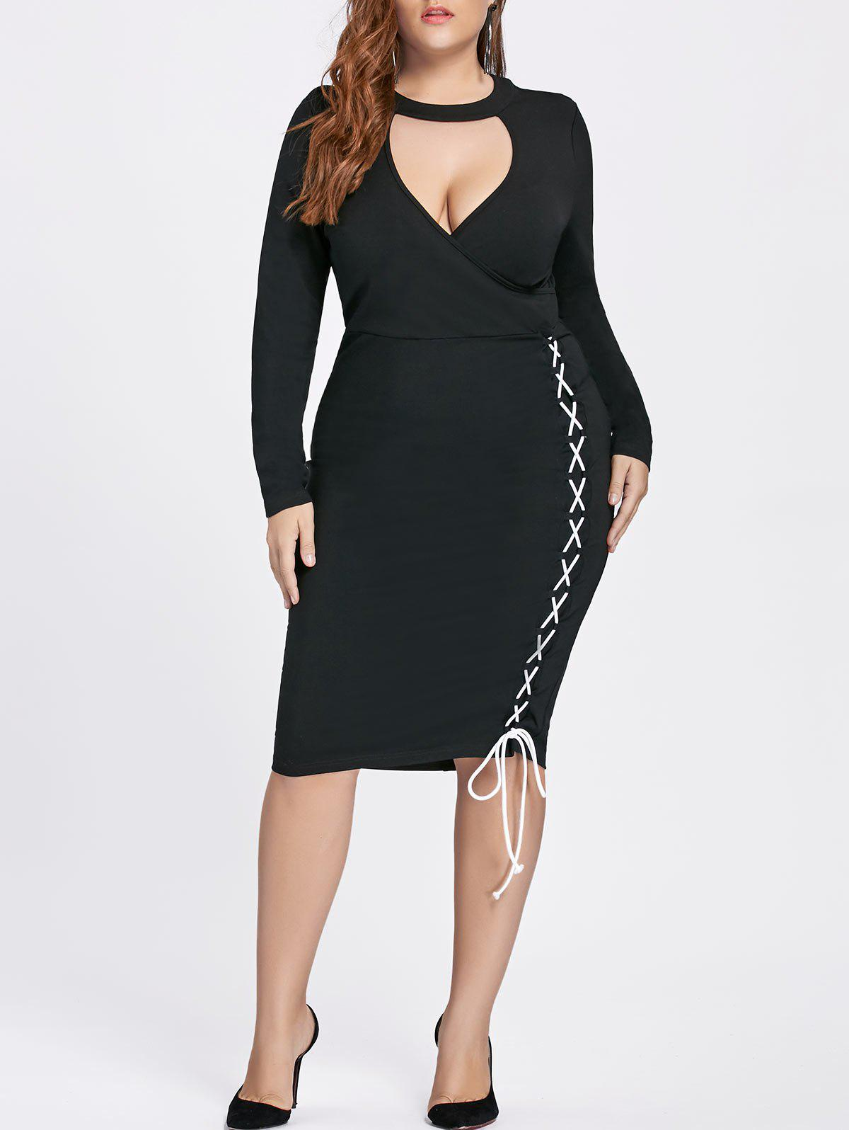Lace-up Bodycon Plus Size Fitted Choker DressWOMEN<br><br>Size: 4XL; Color: BLACK; Style: Brief; Material: Polyester,Spandex; Silhouette: Bodycon; Dresses Length: Knee-Length; Neckline: Mock Neck; Sleeve Length: Long Sleeves; Pattern Type: Solid; With Belt: No; Season: Fall,Spring; Weight: 0.6010kg; Package Contents: 1 x Dress;