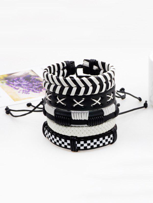 Layered Faux Leather Woven Vintage Bracelet SetJEWELRY<br><br>Color: BLACK; Item Type: Strand Bracelet; Gender: For Men; Chain Type: Leather Chain; Style: Trendy; Shape/Pattern: Round; Weight: 0.0500kg; Package Contents: 1 x Bracelet(Set);