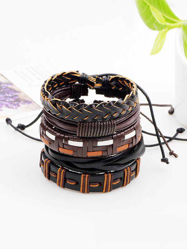 Affordable Faux Leather Woven Boho Layered Friendship Bracelets