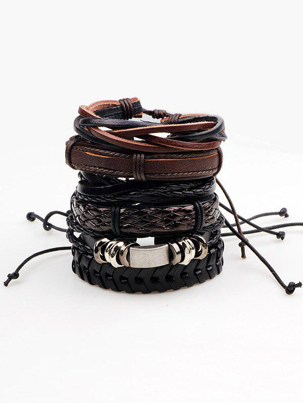 Store Retro Faux Leather Woven Layered Bracelets Set