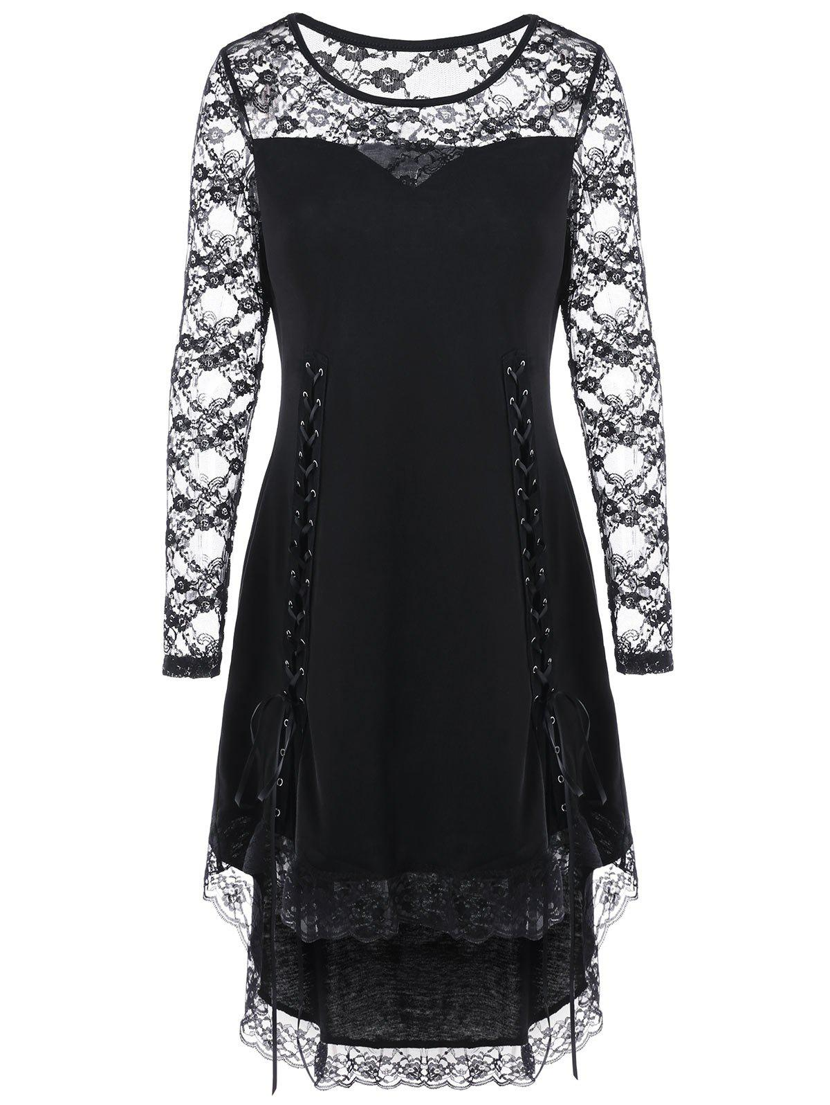 Halloween Lace Up Lace Yoke Cocktail DressWOMEN<br><br>Size: XL; Color: BLACK; Style: Gothic; Material: Polyester,Spandex; Silhouette: High-Low; Dress Type: Tee Dress; Dresses Length: Knee-Length; Neckline: Round Collar; Sleeve Length: Long Sleeves; Embellishment: Lace; Pattern Type: Floral; With Belt: No; Season: Fall,Spring; Weight: 0.2700kg; Package Contents: 1 x Dress; Occasion: Casual,Club,Evening,Night Out,Pageant Dresses;