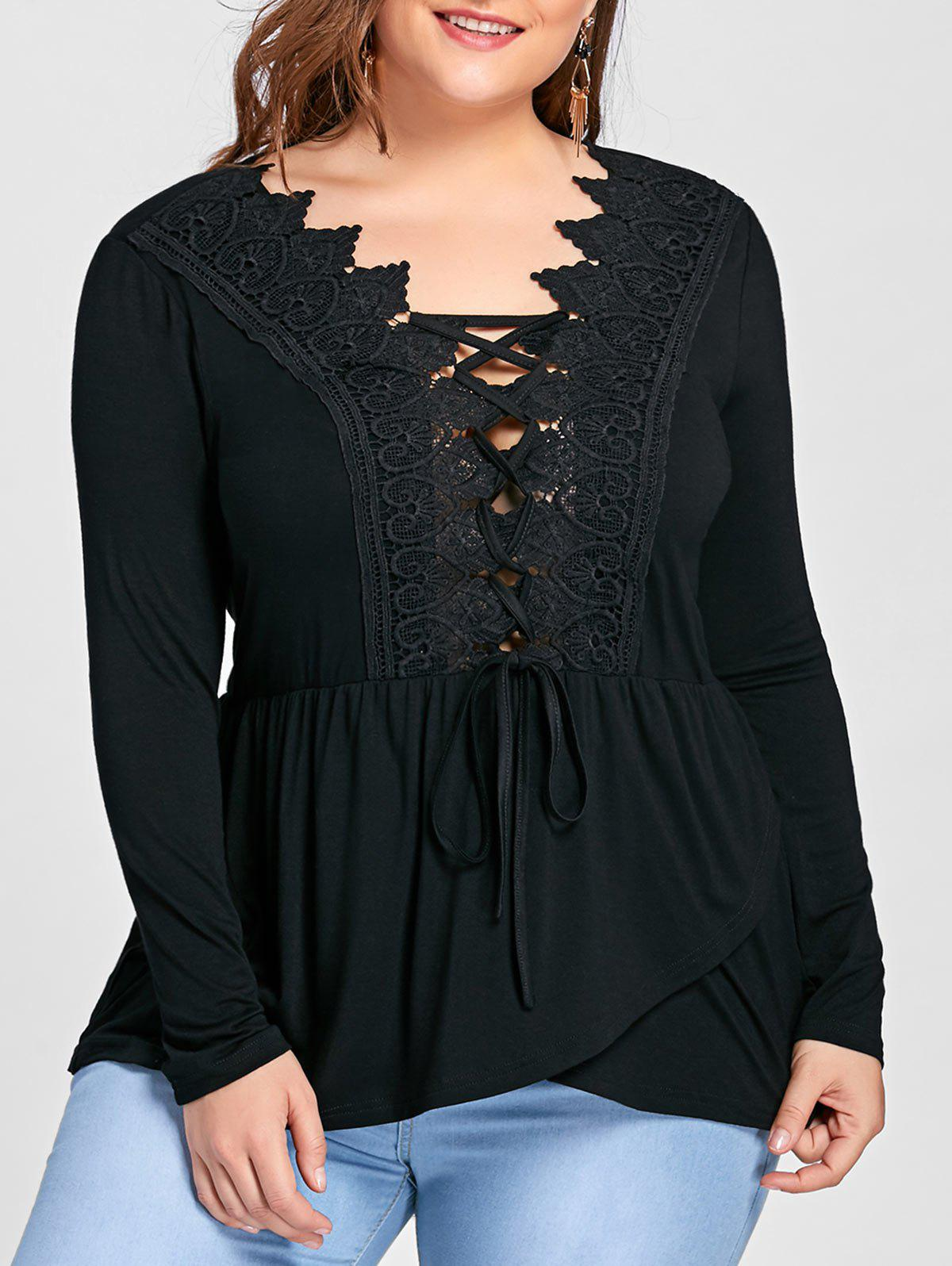 Long Sleeve Lace Up Lace Panel Asymmetric T-shirtWOMEN<br><br>Size: 3XL; Color: BLACK; Material: Cotton,Spandex; Shirt Length: Long; Sleeve Length: Full; Collar: V-Neck; Style: Fashion; Season: Fall,Spring; Embellishment: Criss-Cross,Lace,Panel; Pattern Type: Others; Weight: 0.3500kg; Package Contents: 1 x T-shirt;