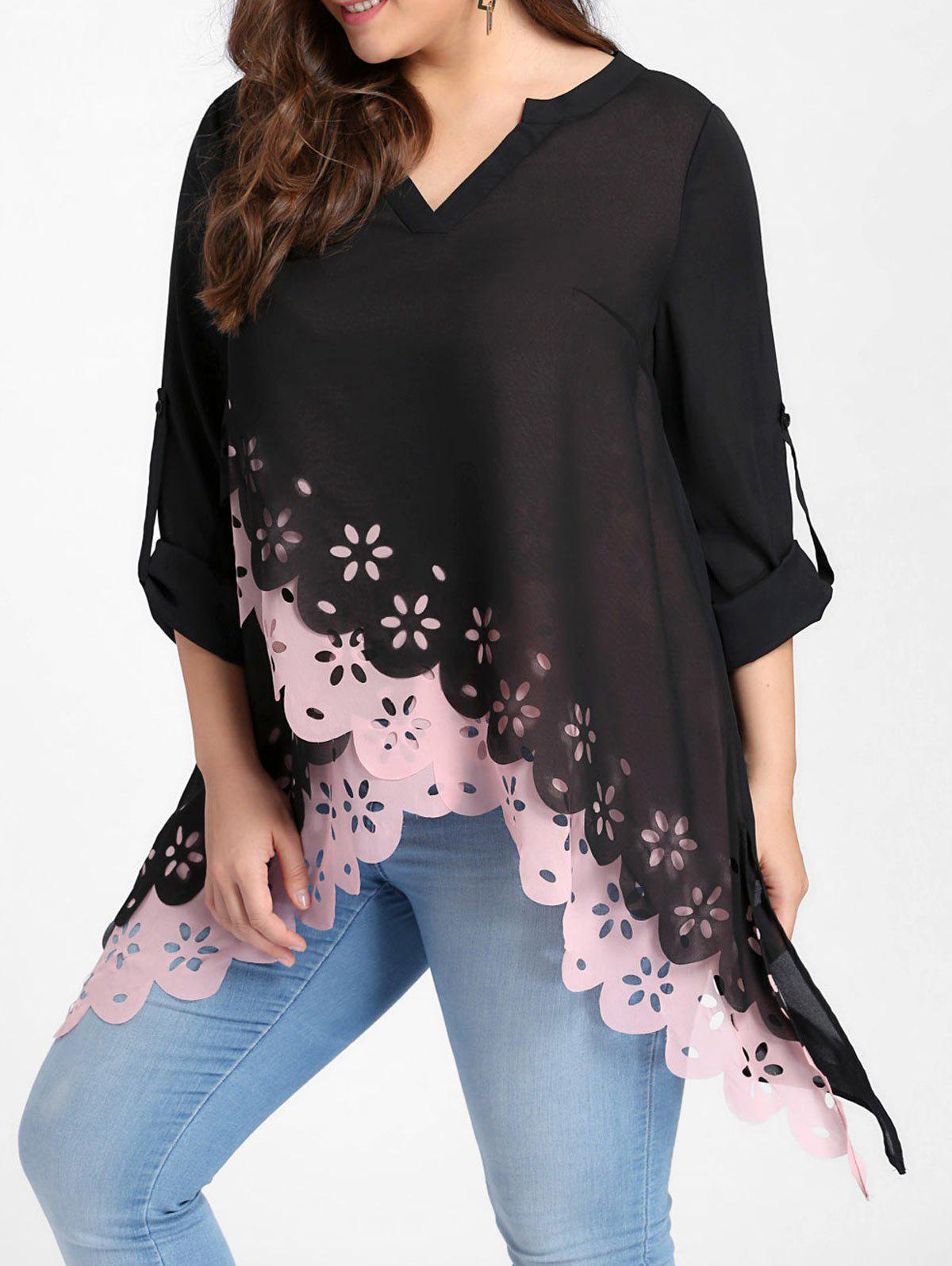 Plus Size Overlap Openwork Scalloped Edge BlouseWOMEN<br><br>Size: 4XL; Color: PINK; Material: Polyester; Shirt Length: Long; Sleeve Length: Full; Collar: V-Neck; Style: Casual; Season: Fall,Spring; Pattern Type: Solid; Weight: 0.3100kg; Package Contents: 1 x Blouse;