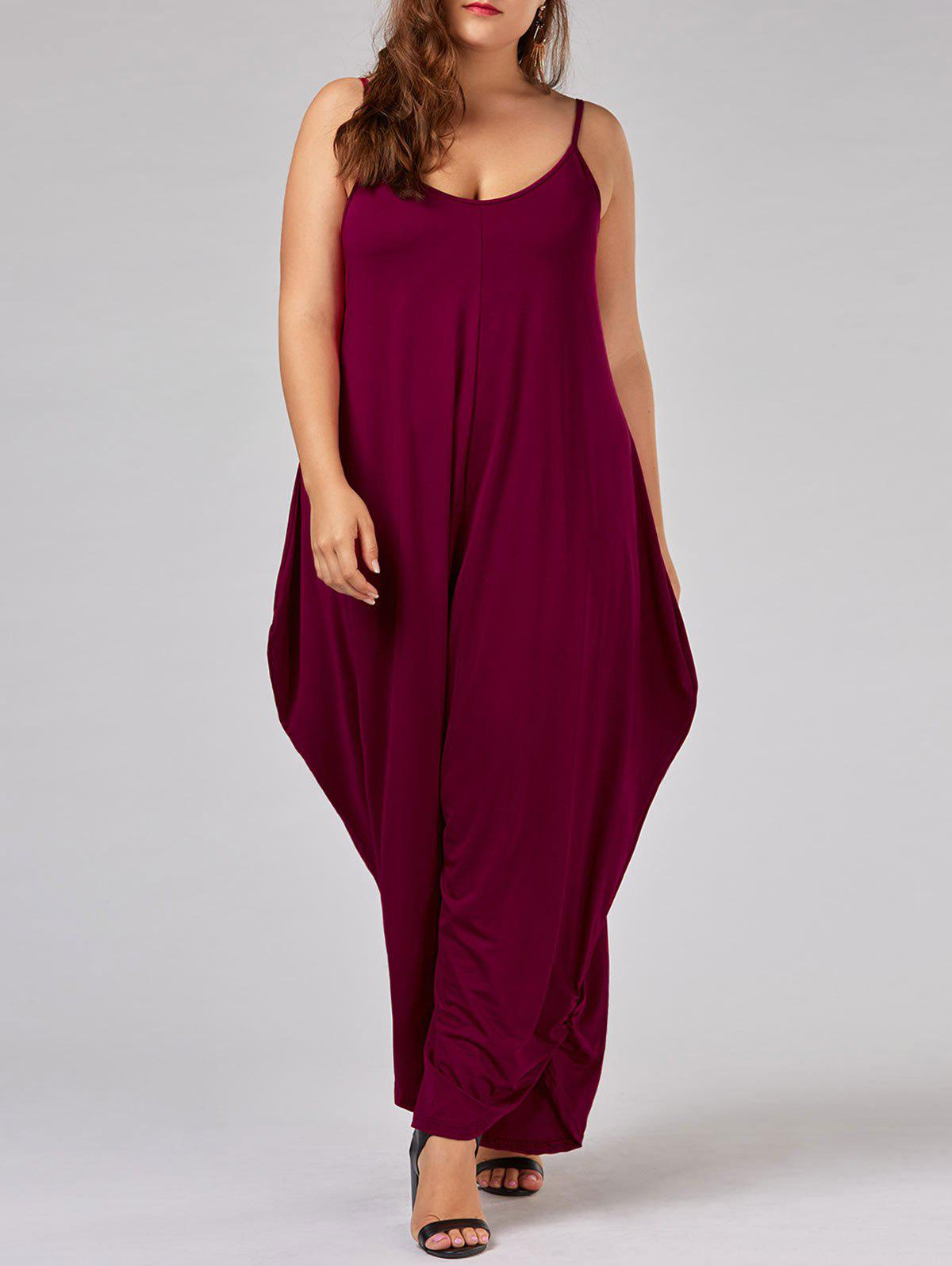 Plus Size Spaghetti Strap Baggy JumpsuitWOMEN<br><br>Size: 7XL; Color: BRIGHT RED; Style: Fashion; Length: Normal; Material: Cotton,Polyester; Fit Type: Loose; Waist Type: High; Closure Type: Elastic Waist; Pattern Type: Solid; Embellishment: Ruched; Pant Style: Harem Pants; Weight: 0.3100kg; Package Contents: 1 x Jumpsuit;