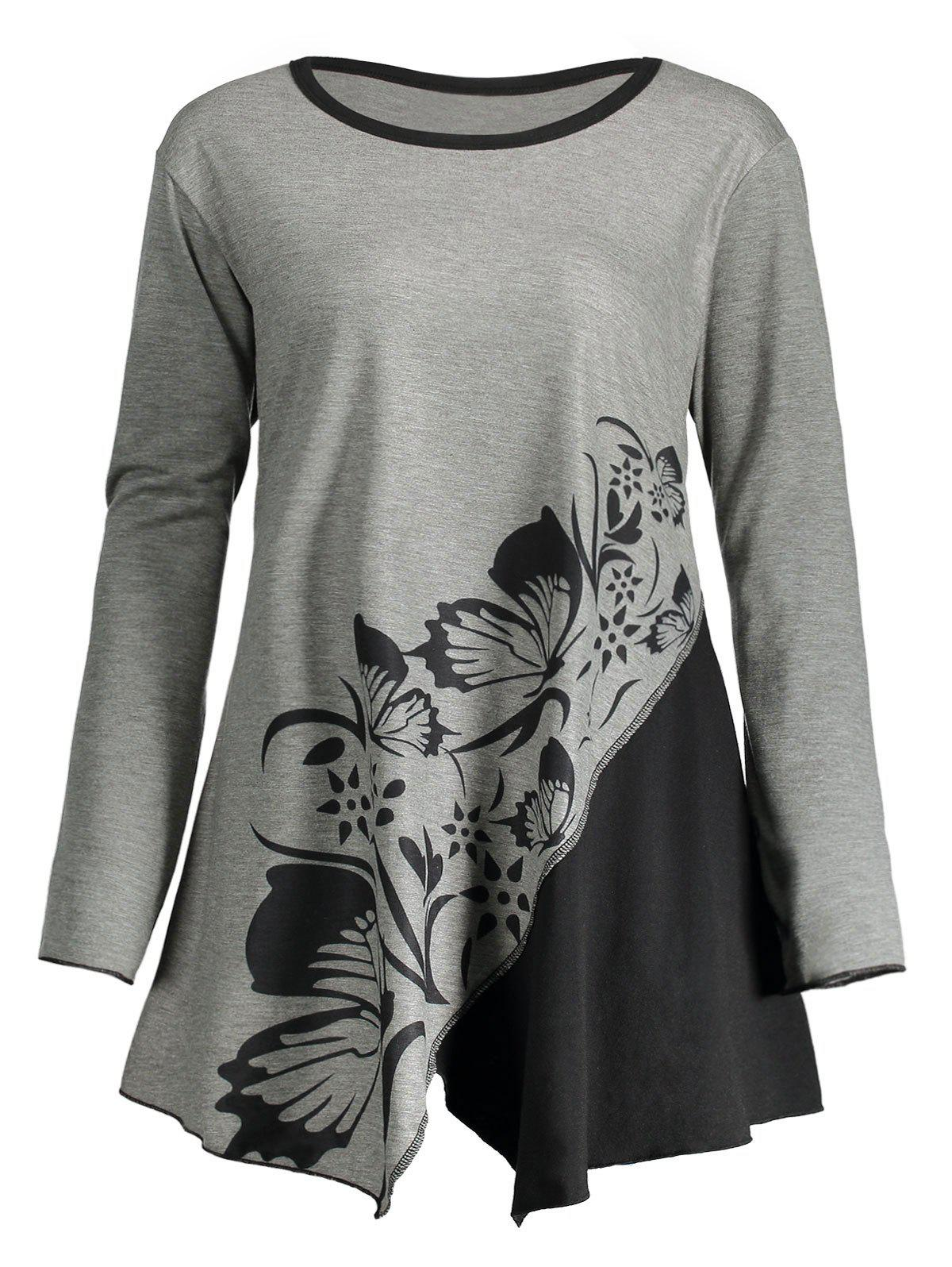 Butterfly Play Flower Plus Size Split T-shirtWOMEN<br><br>Size: 4XL; Color: GRAY; Material: Polyester,Spandex; Shirt Length: Regular; Sleeve Length: Full; Collar: Round Neck; Style: Casual; Season: Fall,Spring; Embellishment: Panel,Slit; Pattern Type: Floral,Print; Elasticity: Elastic; Weight: 0.3300kg; Package Contents: 1 x T-shirt;