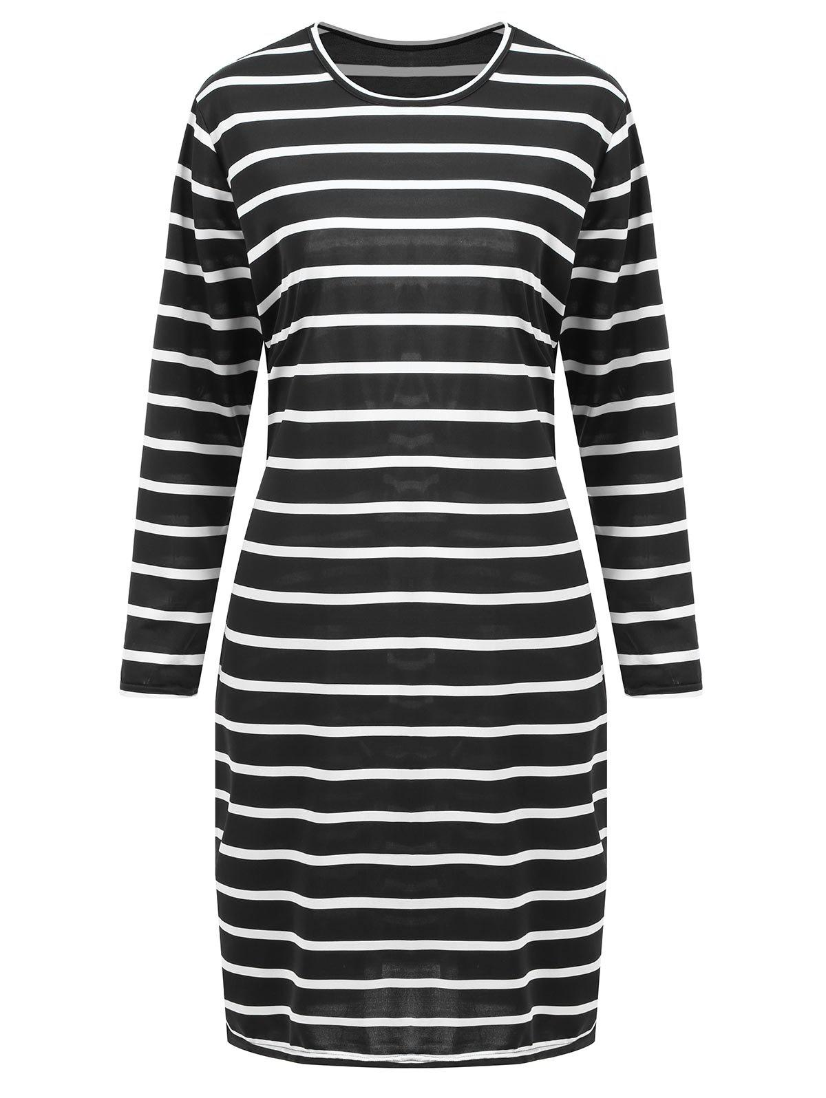Latest Plus Size Knee Length Striped Tunic Fitted Dress
