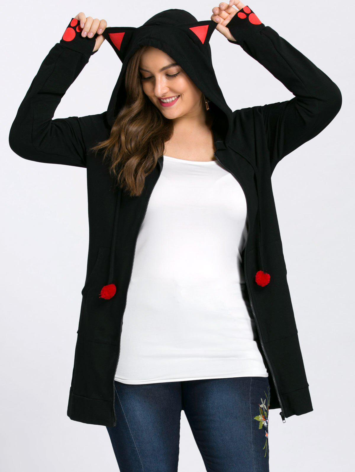 Plus Size Zip Hoodie with EarsWOMEN<br><br>Size: XL; Color: BLACK; Material: Cotton Blend,Polyester; Shirt Length: Long; Sleeve Length: Full; Style: Novelty; Pattern Style: Animal; Embellishment: Front Pocket; Season: Fall,Winter; Weight: 0.5300kg; Package Contents: 1 x Hoodie;