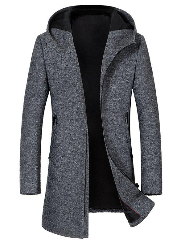 Zip Up Hooded Wool Blend CoatMEN<br><br>Size: M; Color: GRAY; Clothes Type: Wool &amp; Blends; Style: Casual,Formal; Material: Polyester,Wool; Collar: Hooded; Shirt Length: Long; Sleeve Length: Long Sleeves; Season: Winter; Weight: 1.3800kg; Package Contents: 1 x Coat;