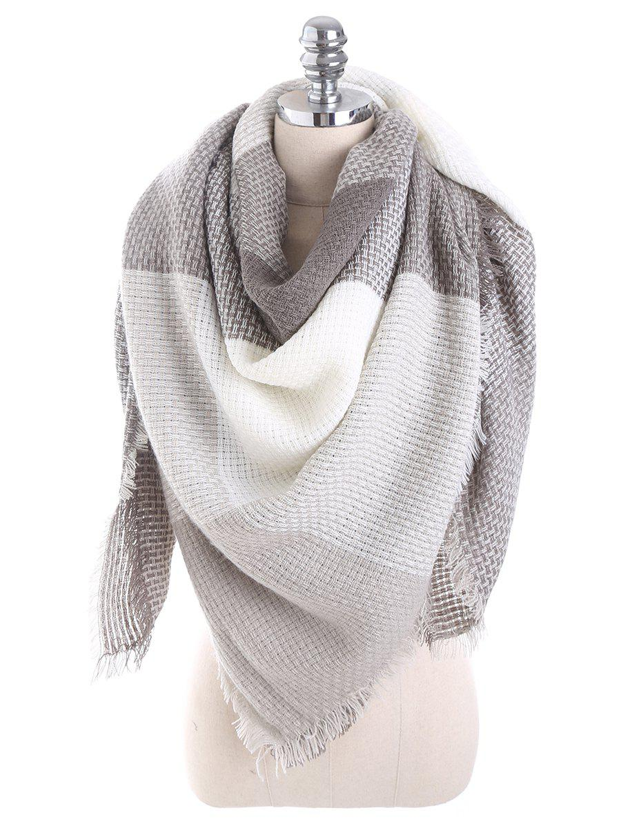 Tartan Plaid Fringed Blanket Shawl ScarfACCESSORIES<br><br>Color: GRAY; Scarf Type: Scarf; Group: Adult; Gender: For Women; Style: Fashion; Material: Acrylic; Pattern Type: Plaid; Season: Fall,Spring,Winter; Scarf Width (CM): 135CM; Length (CM): 140CM; Weight: 0.2600kg; Package Contents: 1 x Scarf;