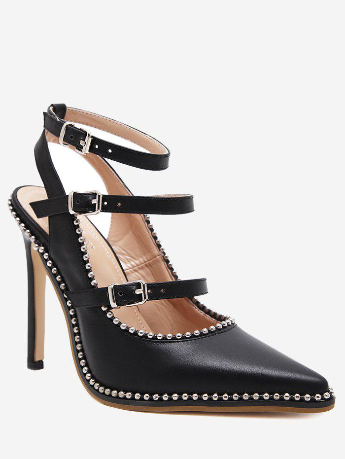 Unique Ankle Strap Buckle Straps Stud Pumps