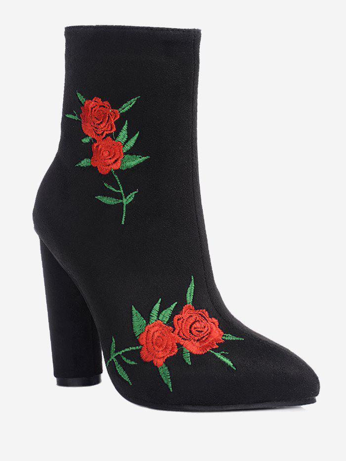 Shop Ankle Rose Embroidery Boots
