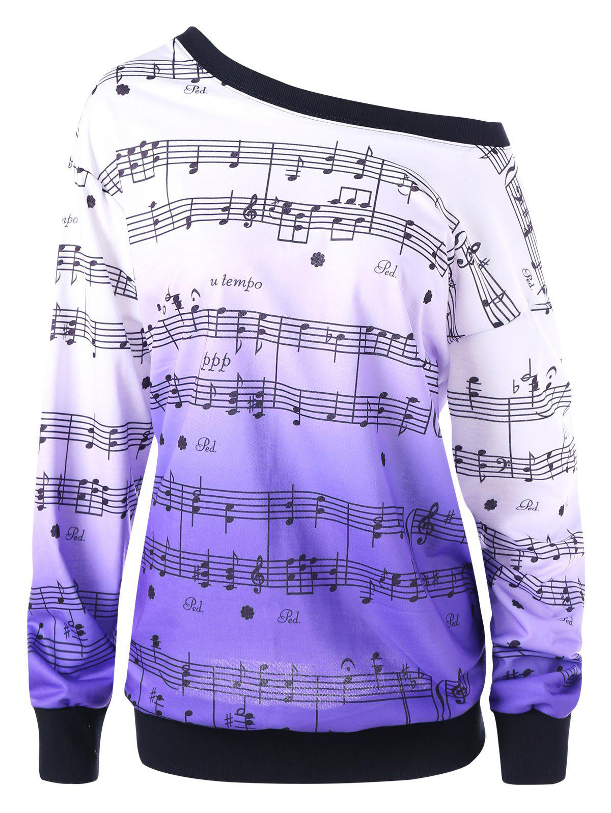 Sweat-shirt Imprimé Notes Musicales Encolure Cloutée Grande Taille