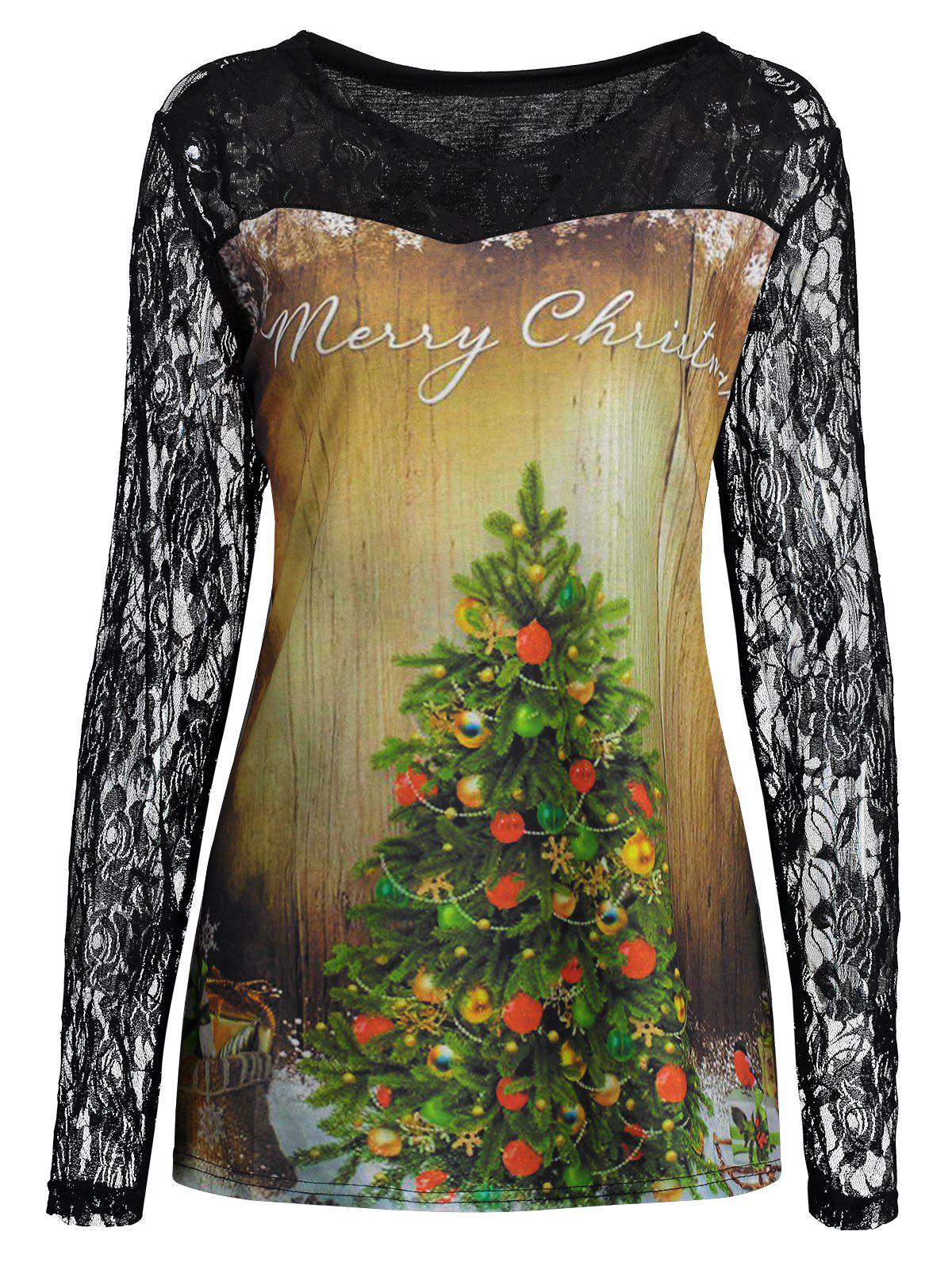 Plus Size Lace Yoke Merry Christmas Tree Print T-shirtWOMEN<br><br>Size: XL; Color: BLACK; Material: Cotton,Polyester; Shirt Length: Regular; Sleeve Length: Full; Collar: Round Neck; Style: Fashion; Season: Fall; Embellishment: Lace; Pattern Type: Letter,Plant; Weight: 0.3500kg; Package Contents: 1 x T-shirt;