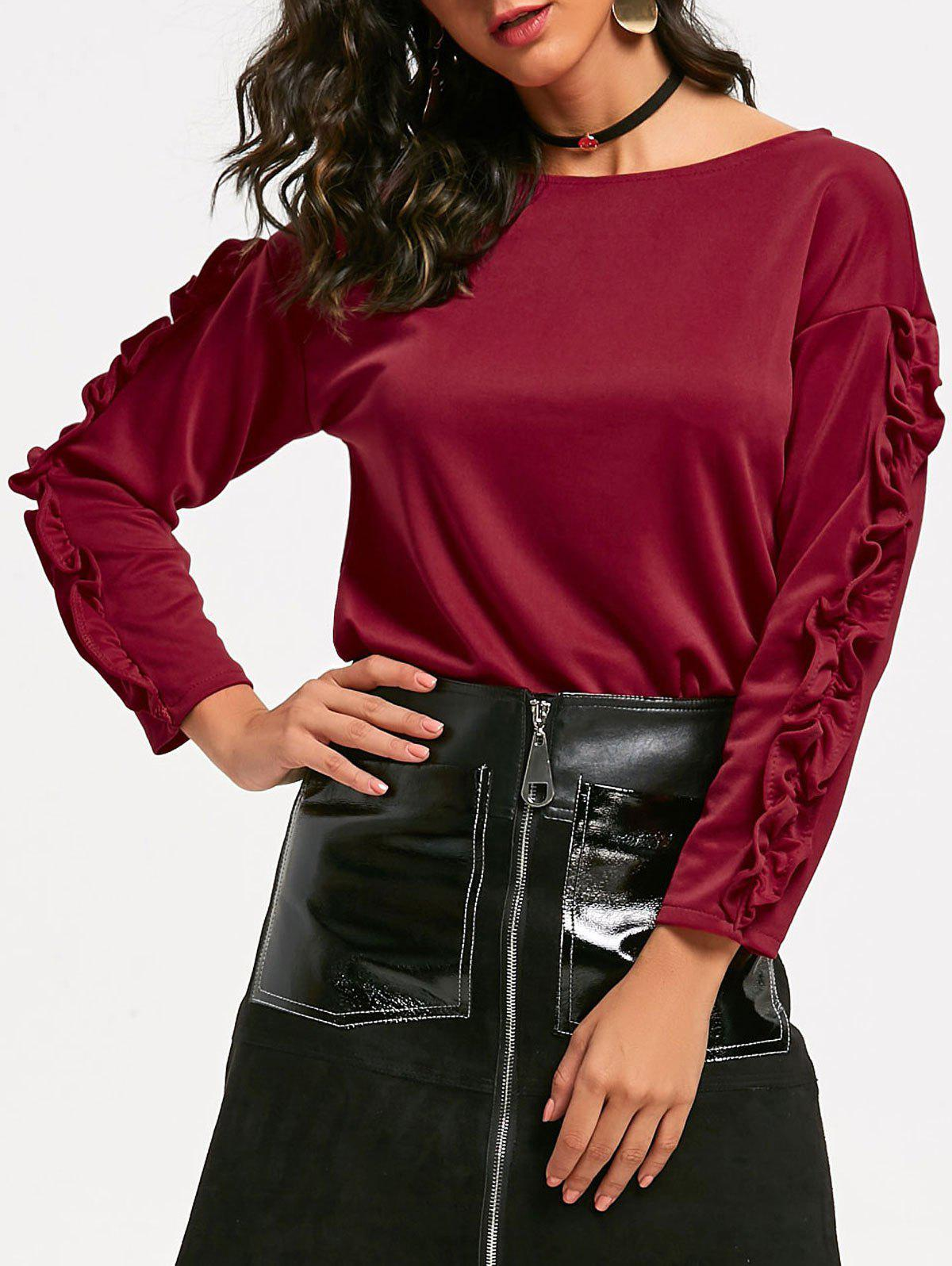 New Ruffle Sleeve Boat Neck Top