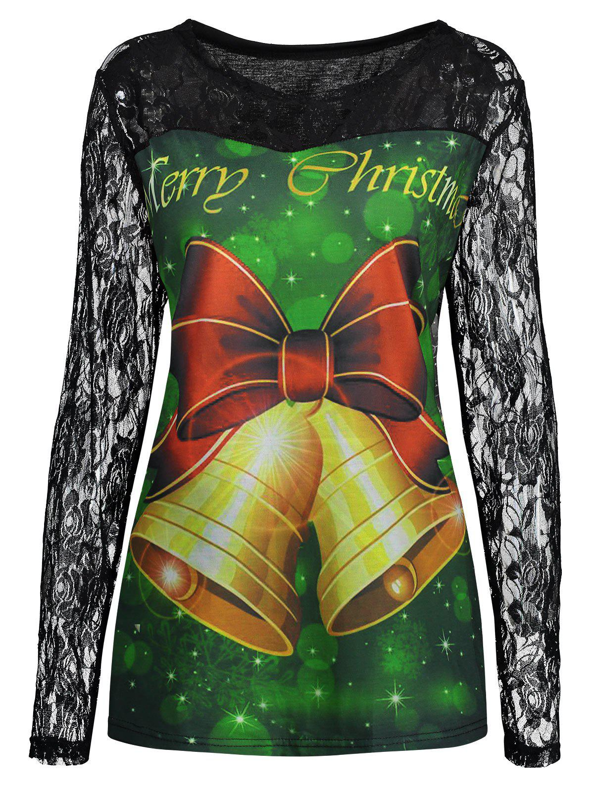 Plus Size Lace Yoke Merry Christmas Bell T-shirtWOMEN<br><br>Size: 4XL; Color: BLACK; Material: Cotton,Polyester; Shirt Length: Regular; Sleeve Length: Full; Collar: Round Neck; Style: Fashion; Season: Fall; Embellishment: Lace; Pattern Type: Bowknot,Letter; Weight: 0.3500kg; Package Contents: 1 x T-shirt;