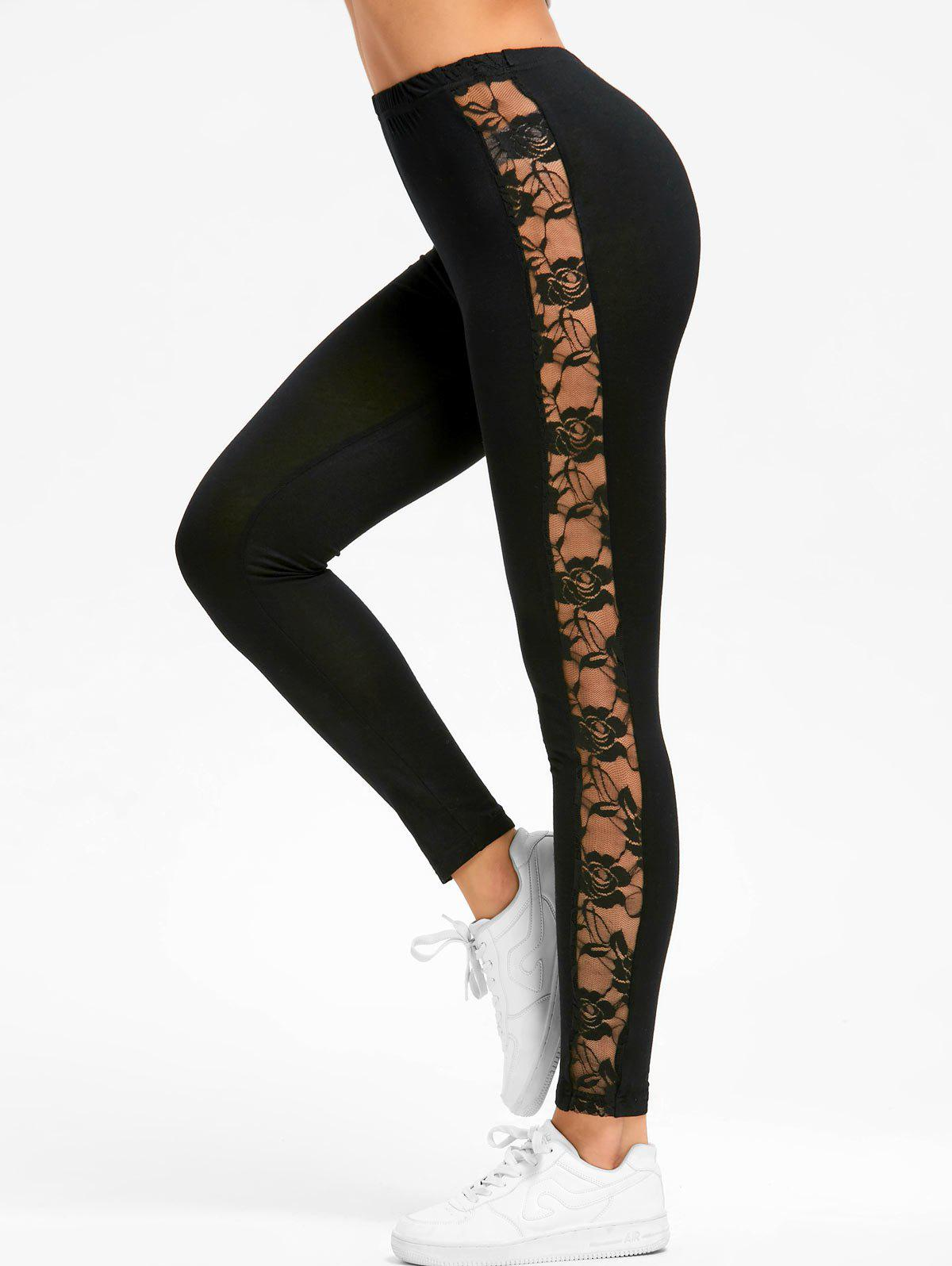 Lace Insert Sport LeggingsWOMEN<br><br>Size: 2XL; Color: BLACK; Style: Casual; Length: Normal; Material: Rayon,Spandex; Fit Type: Skinny; Waist Type: Mid; Closure Type: Elastic Waist; Pattern Type: Floral; Embellishment: Lace; Pant Style: Pencil Pants; Weight: 0.2000kg; Package Contents: 1 x Leggings;