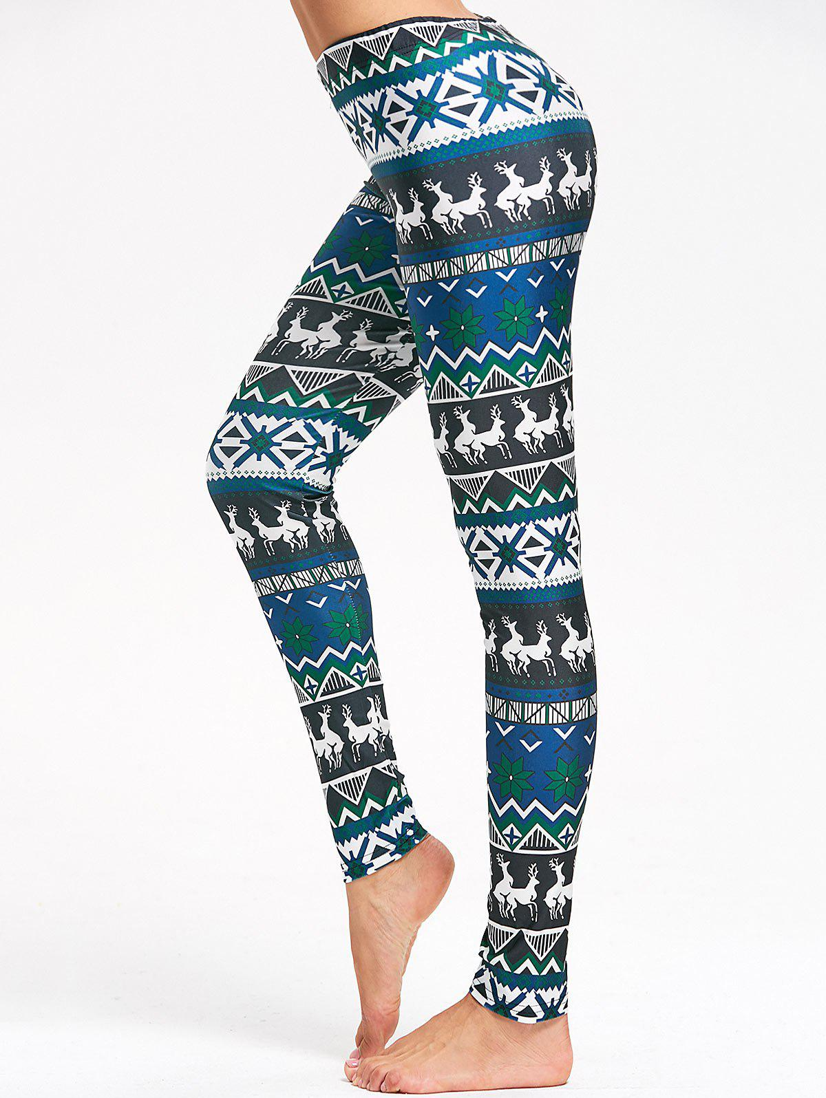 Skinny Christmas Elk Snowflake Print LeggingsWOMEN<br><br>Size: L; Color: LIGHT BLUE; Style: Casual; Material: Cotton,Polyester; Waist Type: High; Pattern Type: Animal,Geometric; Weight: 0.2200kg; Package Contents: 1 x Leggings;