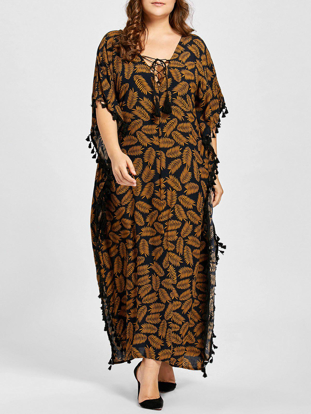 Plus Size Tassel Leaf Print Lace Up Poncho DressWOMEN<br><br>Size: 2XL; Color: DARK CAMEL; Style: Casual; Material: Cotton,Polyester; Silhouette: Asymmetrical; Dresses Length: Ankle-Length; Neckline: V-Neck; Sleeve Type: Batwing Sleeve; Sleeve Length: Half Sleeves; Embellishment: Tassel; Pattern Type: Plant; With Belt: No; Season: Fall; Weight: 0.4000kg; Package Contents: 1 x Dress;