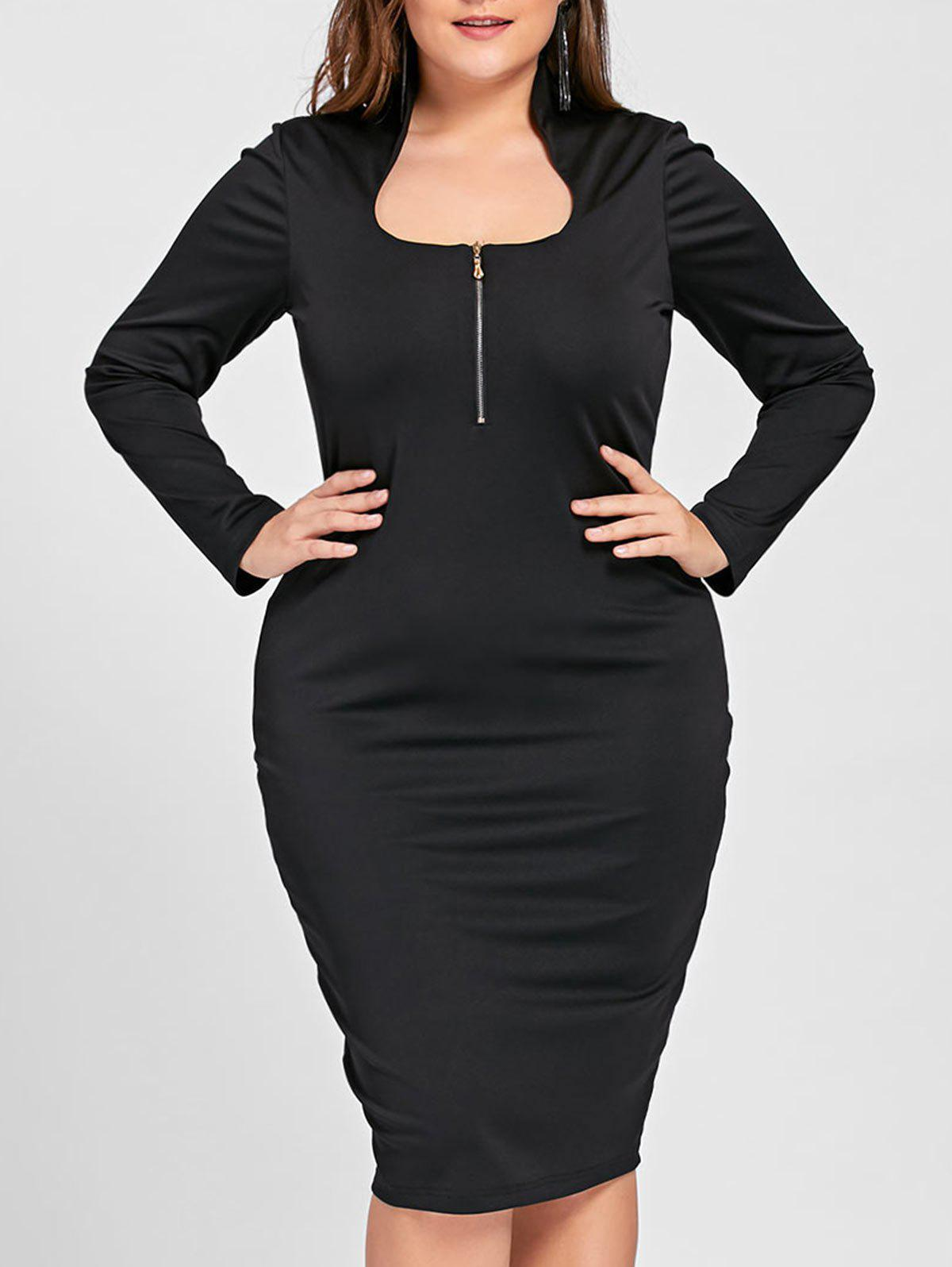 Plus Size Long Sleeve Evening DressWOMEN<br><br>Size: 3XL; Color: BLACK; Style: Brief; Material: Polyester,Spandex; Silhouette: Pencil; Dresses Length: Knee-Length; Neckline: Stand; Sleeve Length: Long Sleeves; Pattern Type: Solid Color; With Belt: No; Season: Fall,Spring; Weight: 0.3700kg; Package Contents: 1 x Dress;