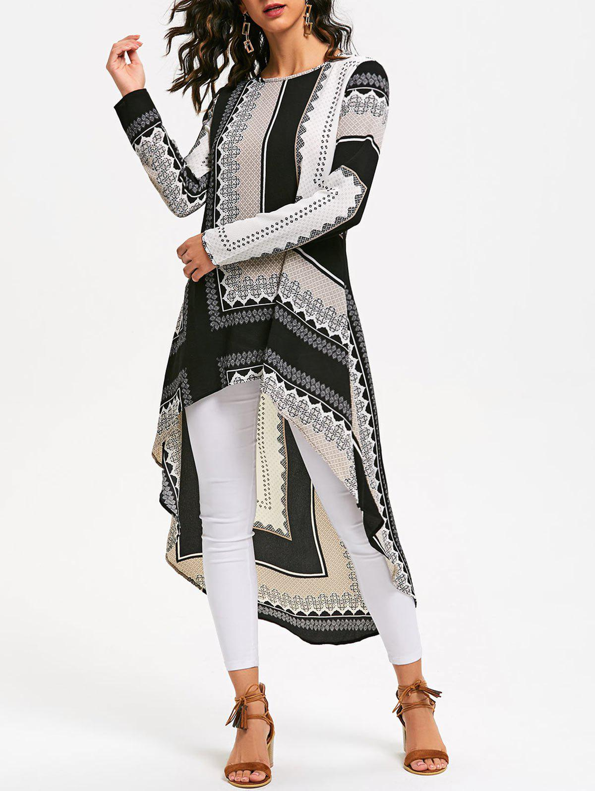 Tribal Print High Low Long Blouse DressWOMEN<br><br>Size: XL; Color: COLORMIX; Style: Casual; Material: Polyester; Silhouette: Asymmetrical; Dress Type: Tribal Dress; Dresses Length: Mid-Calf; Neckline: Round Collar; Sleeve Length: Long Sleeves; Pattern Type: Tribal Print; With Belt: No; Season: Fall,Spring; Weight: 0.2500kg; Package Contents: 1 x Dress; Occasion: Casual;