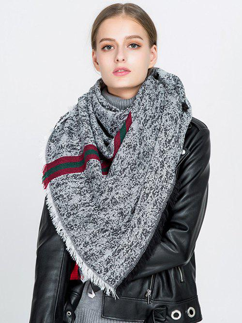 Stripe Panel Blanket Scarf with FringedACCESSORIES<br><br>Color: BLACK; Scarf Type: Scarf; Group: Adult; Gender: For Women; Style: Fashion; Material: Acrylic; Pattern Type: Plaid; Season: Fall,Spring,Winter; Scarf Width (CM): 130CM; Length (CM): 150CM; Weight: 0.2800kg; Package Contents: 1 x Scarf;