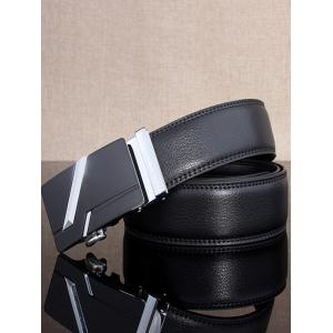 Simple Embellished Paralleled Line Automatic Buckle Wide Belt - SILVER