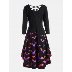 Bat Print Cross Back Fit and Flare Dress - BLUE AND PINK 2XL