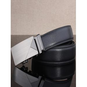Polished Geometric Automatic Buckle Wide Belt -