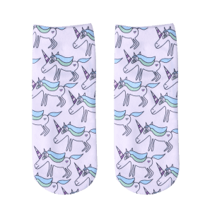 Ankle Socks with Cartoon Unicorn Pattern -