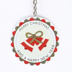 Christmas Bell Round Metal Key Chain -
