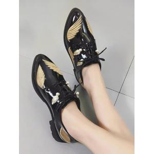Embroidery Wing Faux Pearl Flat Shoes -