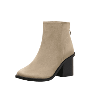 Chunky Heel Faux Suede Ankle Boots - Abricot 39