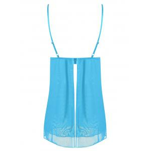 Tier Mesh Plunge Slip Babydoll - CLOUDY ONE SIZE