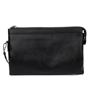 Zip PU Leather Wristlet Bag -