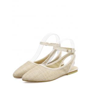 Ankle Strap Slingback Straw Flat Shoes - APRICOT 40