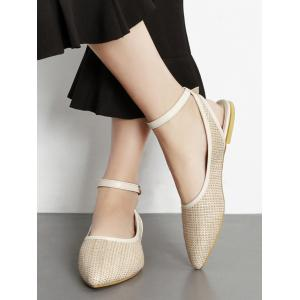 Ankle Strap Slingback Straw Flat Shoes -