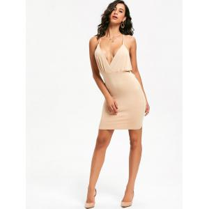 Plunging Neck Backless Criss-Cross Bodycon Party Dress - APRICOT S