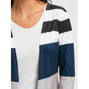 Casual Style Collarless Long Sleeve Colorful Stripe Women's Cardigan -