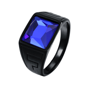 Faux Square Sapphire Finger Ring -