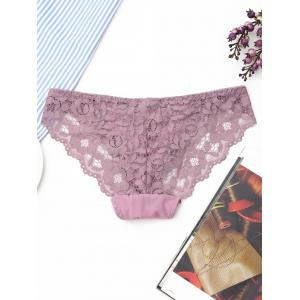Low Waist Sheer Lace Panties - LIGHT PURPLE ONE SIZE