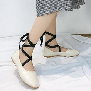 Chaussures plates Criss Cross Strap Lace Up - Blanc Cassé 36