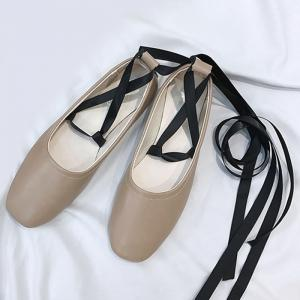 Chaussures plates Criss Cross Strap Lace Up - Kaki 37